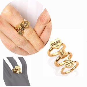 NIB Tory Burch Golden Heart Rings Set3 Size 7